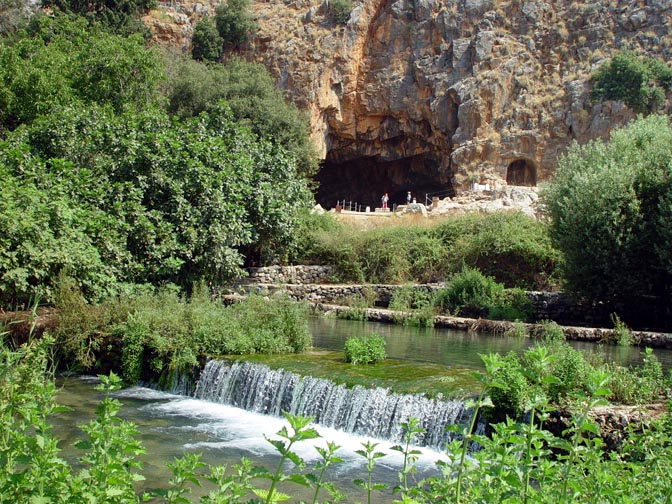 The Banias spring emerges at the site of the remains of a temple to the God Pan, at the foot of mount Hermon, the Golan Heights, Israel 2003