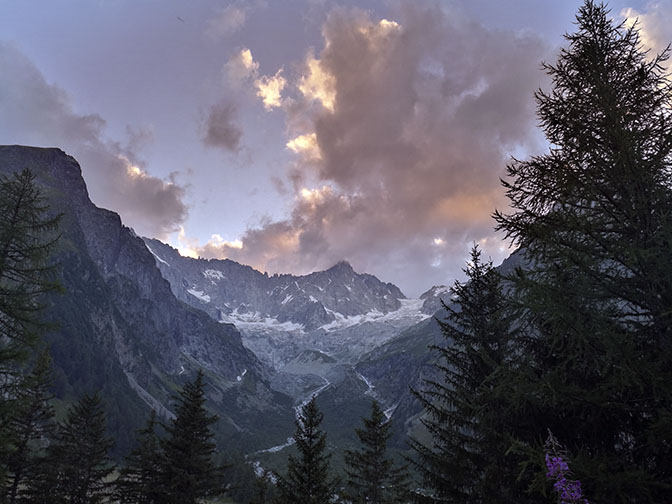 Sunset view from Auberge Maya Joie, Val Ferret La Fouly, Switzerland, 2018