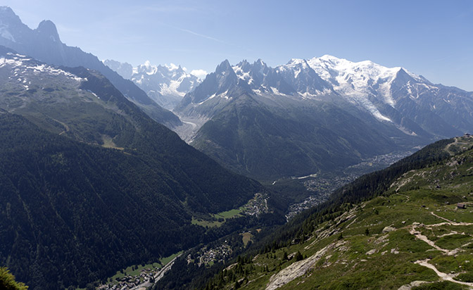 Chamonix in the valley, nestled below Mont Blanc Massif, France 2018