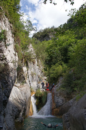 Getting ready to slide a waterfall in the Maglia Canyon, France 2011