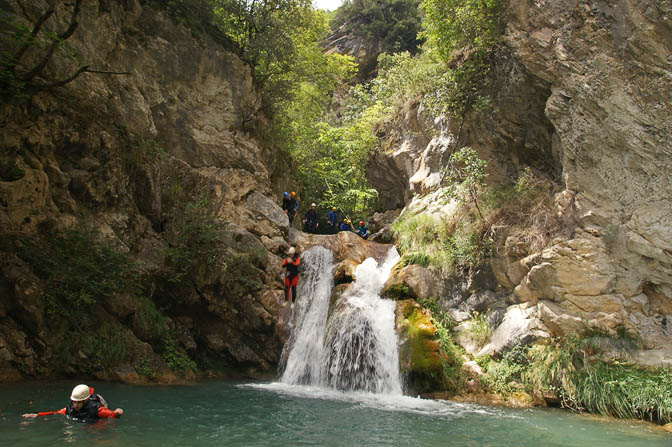 Rami jumps a waterfall in the Maglia Canyon, France 2011
