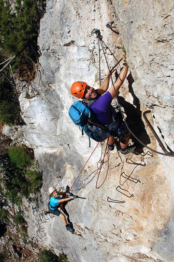 Dudi leads up Via Ferrata in the cliffs of Peille, France 2011 (photographed by Kobi Ben Hamo)