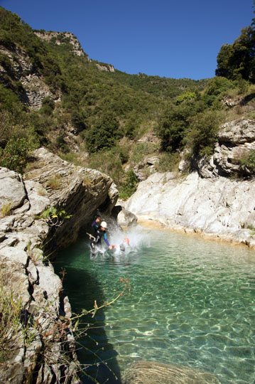 Jumping into the clear water of Barbaira Canyon, Italy 2011