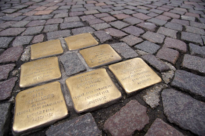 Stumbling Blocks (Stolpersteine) commemorate the Jewish victims of the Holocaust, laid with the pavement in front of their last residence, Freiburg 2013
