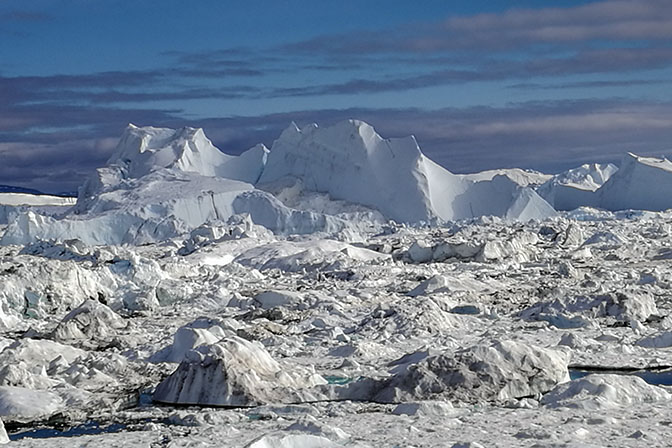 Blocks of ice piled up in Ilulissat's Icefjord, 2017