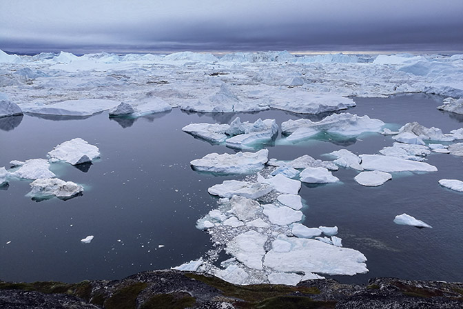 Icebergs floating in Ilulissat's Icefjord, 2017