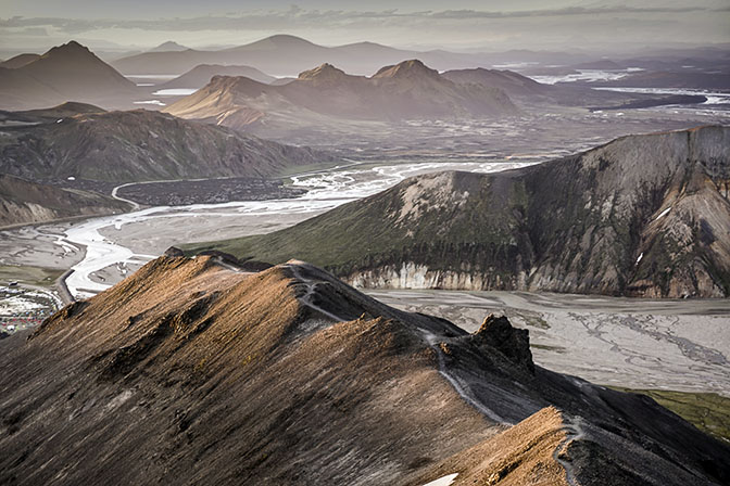 A misty sunset over Landmannalaugar, view from Blahnukur mountain, 2017