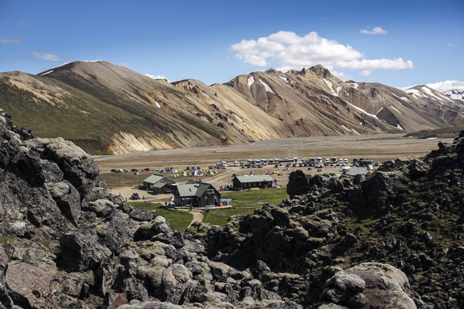 A view of Landmannalaugar camp viewed from the lava field, 2017