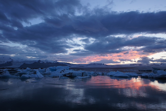 Sunset at Jokulsarlon glacial lagoon, 2012