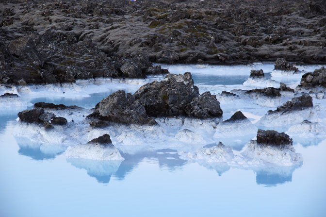 Lava formations, white silica mud and geothermal water, The Blue Lagoon 2012