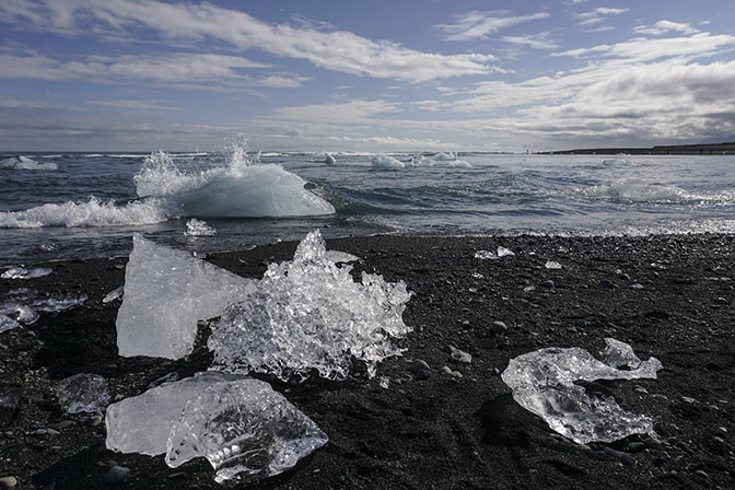 Ice blocks at The Dimond Beach, the ocean coast by Jokulsarlon glacial lagoon, 2017