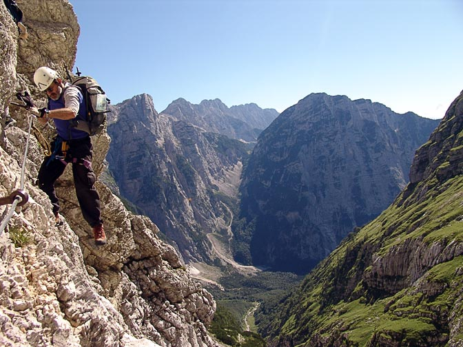 Haggai is climbing 'Via Ferrata' the erect cliffs of the Triglav, 2007