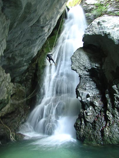 Exhilarating canyoning in one of the Beladovac delirious waterfalls, 2007