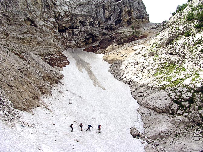 Crossing a glacier in the karstic Julian Alps, Triglav 2007