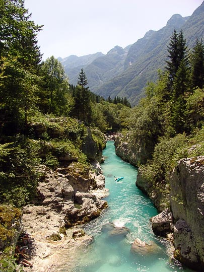 The spectacular, emerald blue stream of the Soca river, the Soca Trail 2007