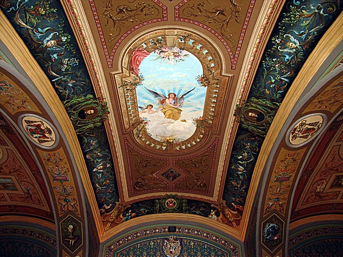 The decorated ceiling of the Salon, in the Austrian Hospice of the Holy Family, The Old City 2006