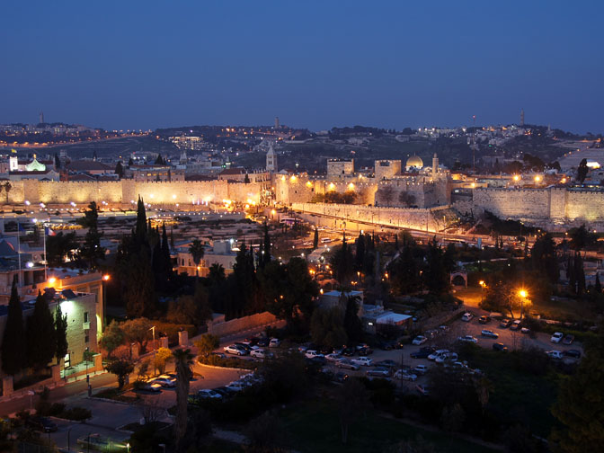 The view of The Old City lights at sunset, as seen from the rooftop of the King David hotel, 2012