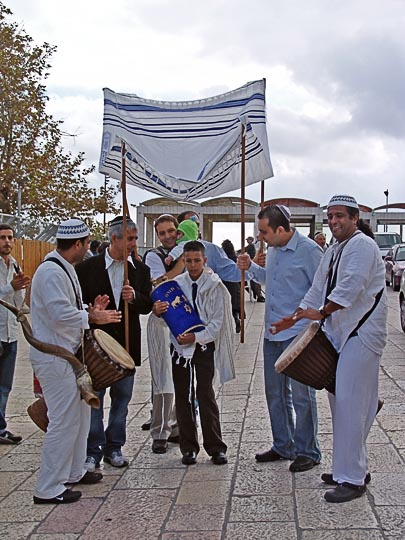 A Jewish Bar Mitzva celebration with a Torah scroll at the Western Wall, The Old City 2006