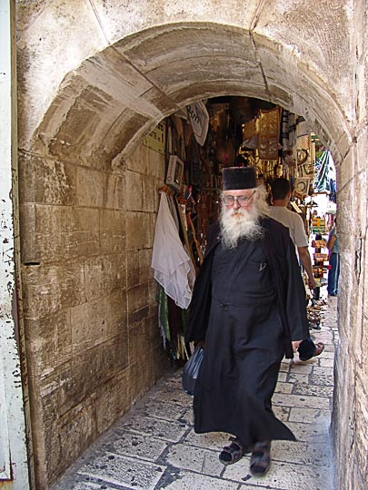 A Greek Orthodox monk by the church of the Holy Sepulchre (the Church of the Resurrection), The Old City 2006