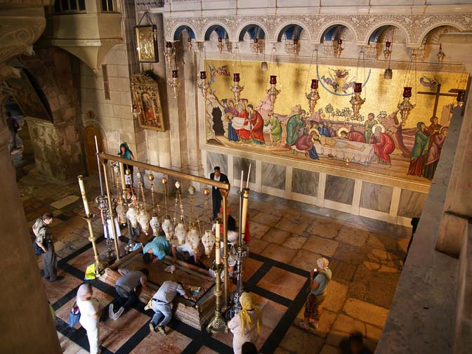 The Stone of the Anointing (Unction) and the mosaic of Jesus' death, at the Church of the Holy Sepulchre (the Church of the Resurrection), The Old City 2011