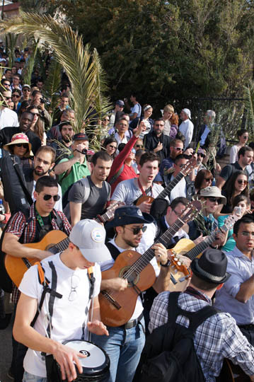 Singing and playing in the Catholic and Protestant procession, Mount of Olives 2012