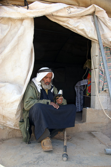 Mohammed at the entrance to his tent, Umm Al-Kheir 2011