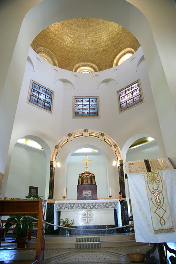 The altar inside the Roman Catholic Church of the Beatitudes (Mount Eremos), The Gospel Trail, The Sea of Galilee 2011