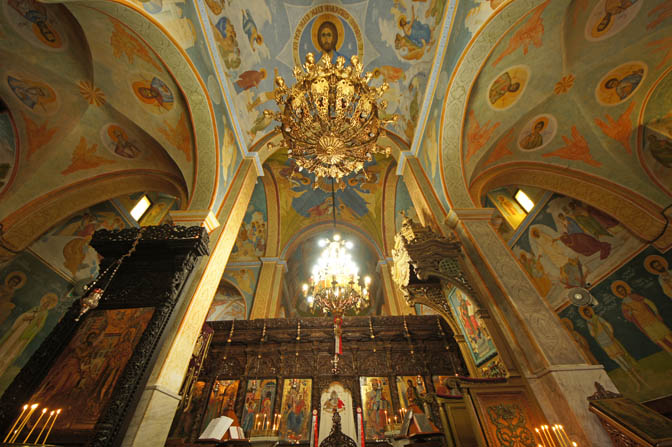 The iconostasis inside The Greek-Orthodox Church of the Annunciation (The Church of St. Gabriel), Nazareth 2013