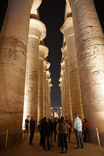 The great colonnade of Amenhotep III in the Luxor Temple of Thebes, illuminated at night, 2017