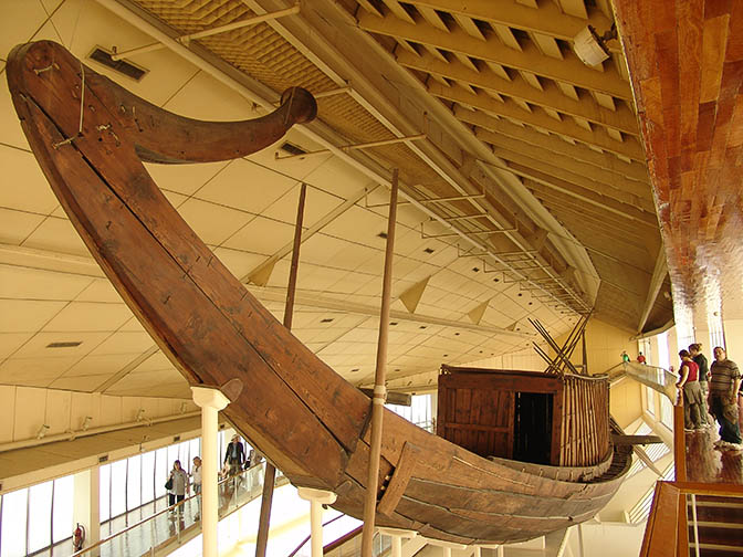 The Pharaoh Khufu (King Cheops) ship, at the foot of his Pyramid at Giza, 2006