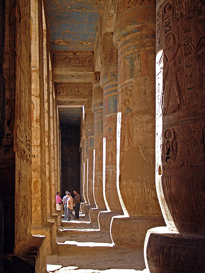 The colorful columns and ceiling in the Hypostyle Hall of The Mortuary Temple of Ramesses III at Medinet Habu, 2006
