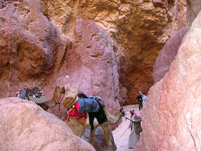 Crossing the deep narrow red granite gorge of Wadi Aheimir, 2006