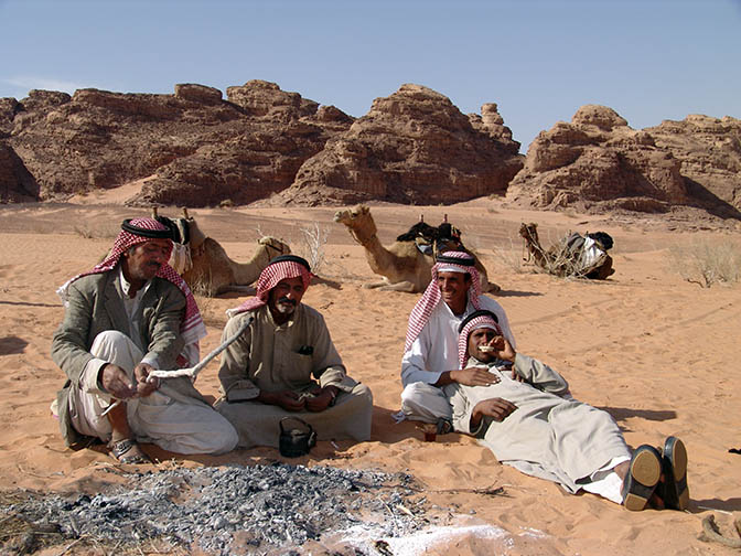 The Bedouins prepare Shai (tea) and Leebe (thick Pita bread) in the dunes of Wadi er Raqiya, 2006