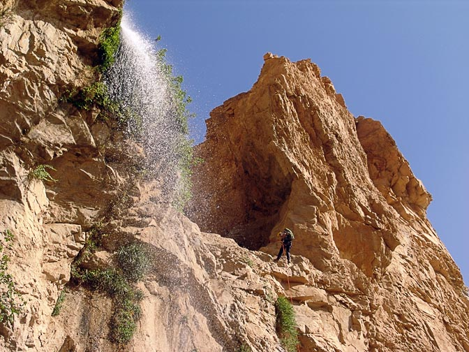 Haggai rappels (abseils) a waterfall in Wadi Zarqa Ma'in, 2007