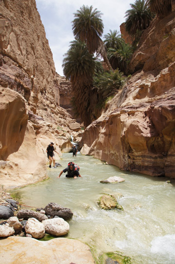 Oved wades in the warm water of Wadi Zarqa Ma'in,2012