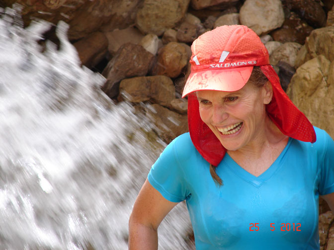 I enjoyed a dip in a waterfall in Wadi Mukheiris, 2012 (photographed by Oved Shimron)