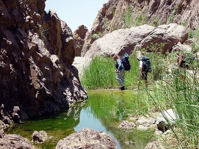 Crossing a stream on the exit from Wadi Abu Sakakin, 2003