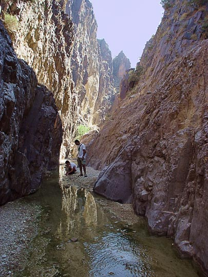 Hod and Ran in Wadi Feid gorge, 2003