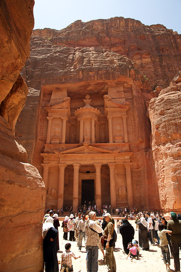 Al Khazneh (The Treasury) hewn into the pink rose sandstone cliff, 2009