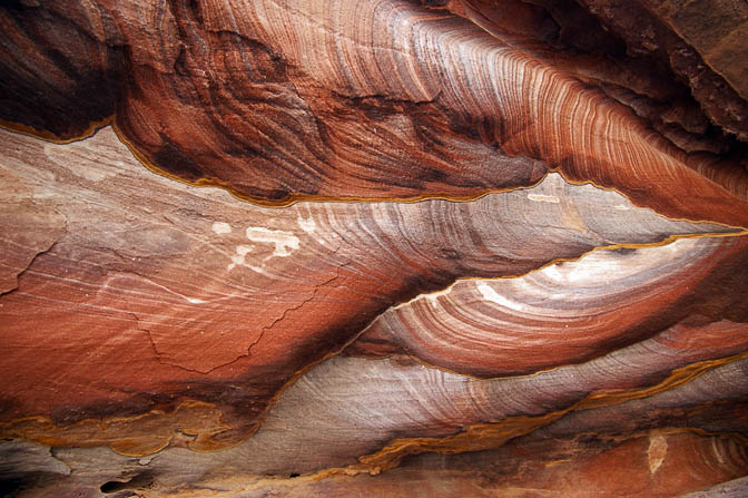 Extraordinary colors of finely layered sandstone in Wadi Rueiba, 2010