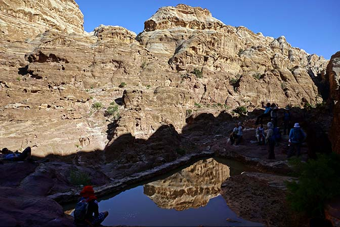 Reflection in a water storage pool in Wadi Salame, 2017