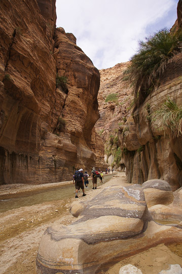 Hiking the red sandstone canyon (Um Ishrin formation), 2014