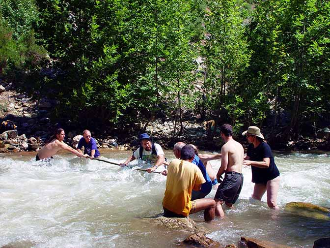 Crossing a river at the bottom of the Aladaglar mountain range, 2002