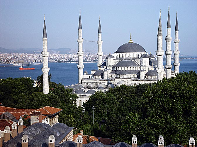 The Sultanahmet Mosque (the Blue Mosque) with its six minarets, 2003