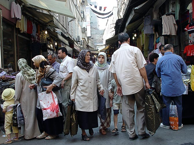 A bustling market in the narrow streets of Istanbul, 2003