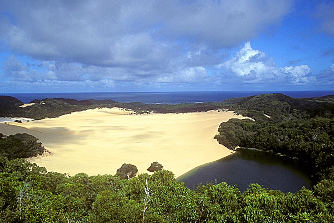 A sandblow damming the deep green waters of lake Wabby, Fraser Island, Queensland 2000