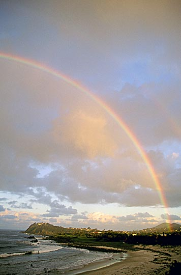 Rainbow at sunset in Forster beach, the Great Lakes, north of Sydney, New South Wales 2000