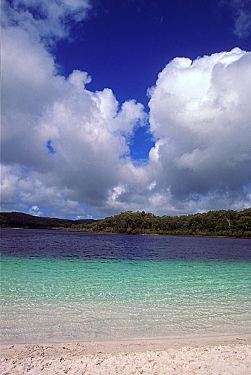 The crystal clear blue waters of lake McKenzie, Fraser Island, Queensland 2000
