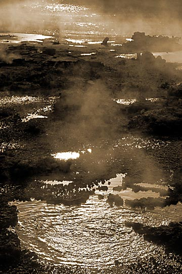 Hell's Gate geothermal reserve in Rotorua, the North Island 1999 (Sepia tone)