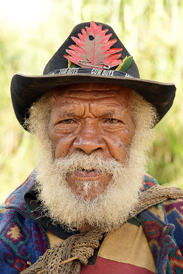 A Huli Tribe man with an Australian hat, Tari 2009